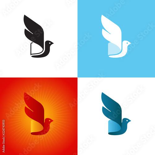 Obraz na plátně Stylized bird silhouette at different color variations