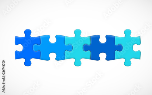Obraz Five piece puzzle connected in line. Solution concept. Vector illustration - fototapety do salonu