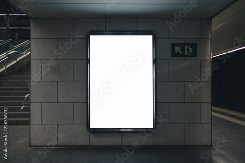 Light box display with white blank space for advertisement. Subway mock-up design. Horizontal
