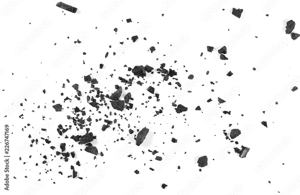 Fototapety, obrazy: Black coal dust with fragments isolated on white background and texture, top view