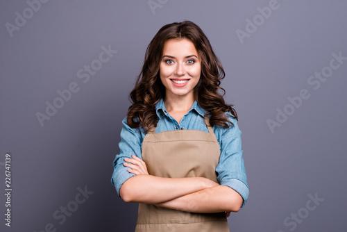Nice stylish cheerful lovely sweet attractive brunette girl, bar