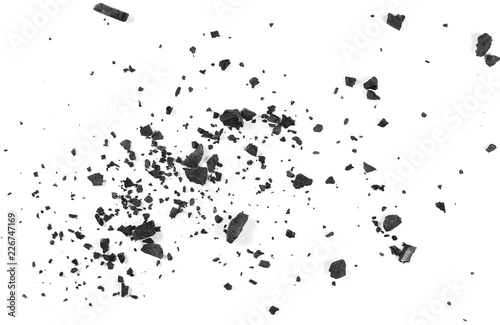 Fotografie, Obraz  Black coal dust with fragments isolated on white background and texture, top vie