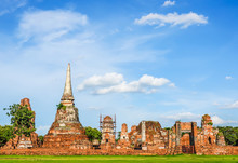 Ruins Of Buddha Statues And Pagoda In Wat Mahathat,Phra Nakhon Si Ayutthaya Province It Is One Of The Temples In The District.