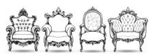 Baroque Armchair Set. Vector French Luxury Rich Intricate Structure. Victorian Royal Style Decor With Luxurious Ornaments