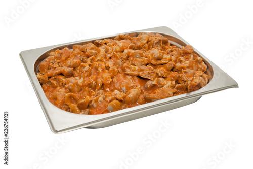Tuinposter Klaar gerecht Stew in an iron tray