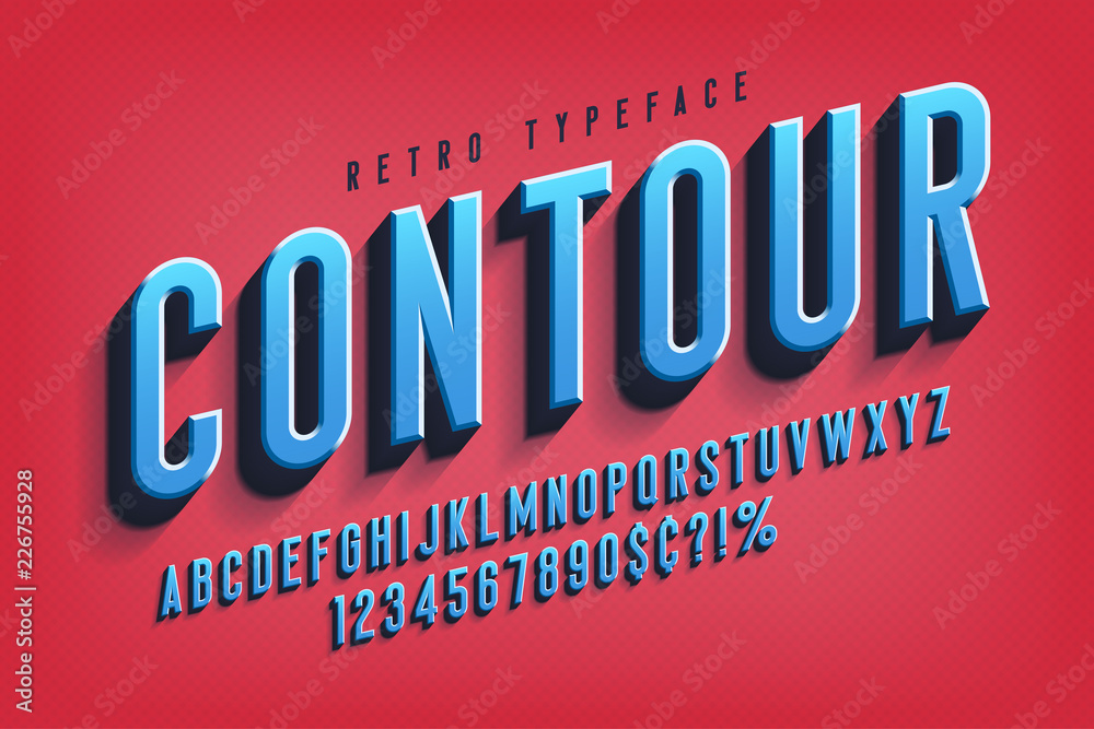 Fototapeta Condensed 3d display font design, alphabet, letters