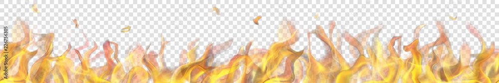 Fototapeta Translucent long fire flame with horizontal seamless repeat on transparent background. For used on light backgrounds. Transparency only in vector format