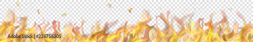 Photo Translucent long fire flame with horizontal seamless repeat on transparent background