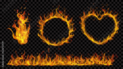 Translucent heart, ring, campfire and long banner of fire flame on transparent background. For used on dark backdrops. Transparency only in vector format
