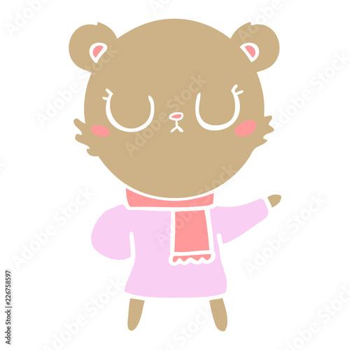 Fotografía  peaceful flat color style cartoon bear wearing scarf