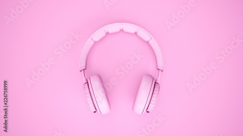 Foto  3D Rendering Pink headphones isolated on pink background