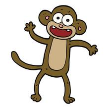 Cartoon Doodle Waving Monkey