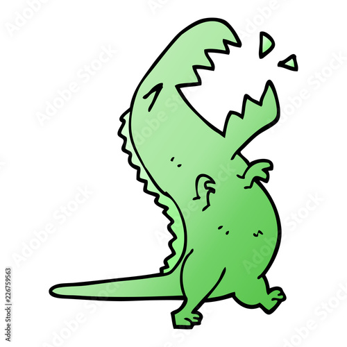 Photo  cartoon doodle roaring t rex