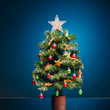 canvas print picture festive Christmas tree on blue background