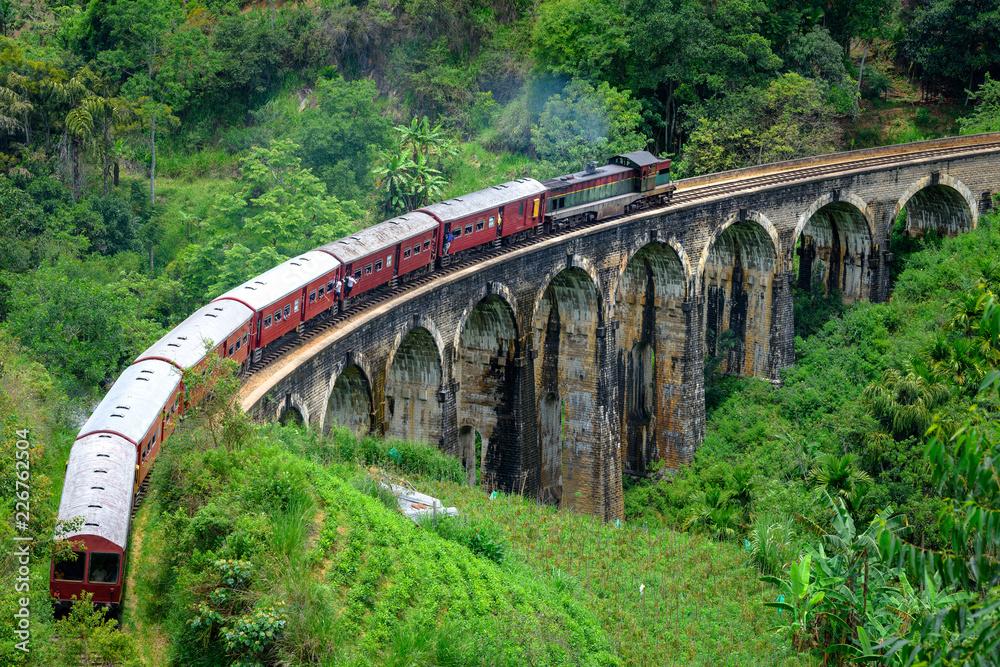 Fototapeta Train passing arched bridge in Ella, Sri Lanka. Nine arches bridge in Ella. Green landscapes around train