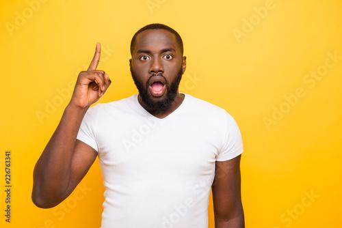 Fototapeta Handsome attractive shocked manly mulato guy in white t-shirt, p obraz na płótnie