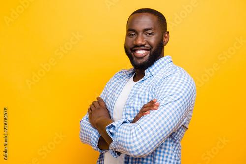 Valokuva  Profile side portrait of handsome cheerful positive nice mulato