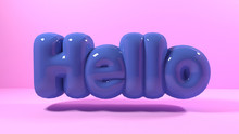 3d Render Blue Bubble Plastic On Pink Background Letters Hello