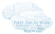 First Aid At Work word cloud, made with text only.