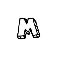 Line Drawing Cartoon Letter M