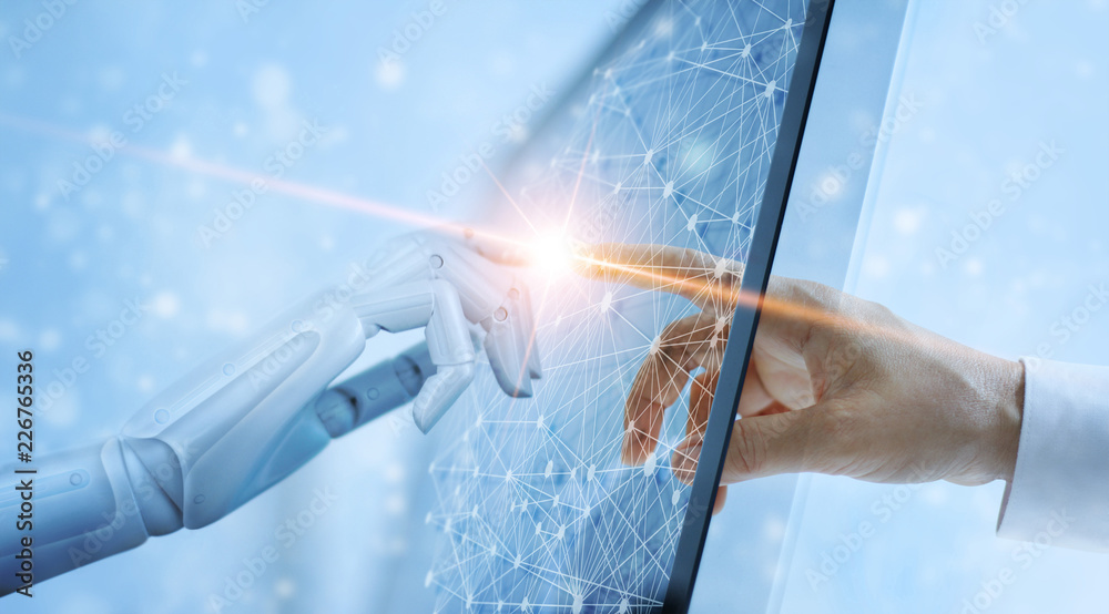 Fototapeta Robot hand and human touching on global virtual network connection future interface. Artificial intelligence technology concept.