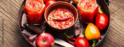 Fotobehang Kruiderij Spicy seasoning, sauce