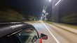 Drivelapse from top Side of Car moving on a night highway timelapse hyperlapse