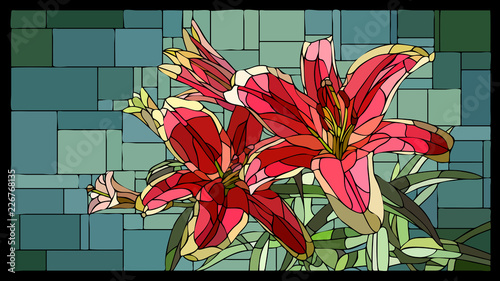 Fotografía Vector stained glass window with blooming red lilies with buds.