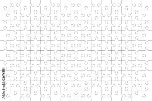 Obraz Jigsaw puzzle blank template or cutting guidelines of 150 transparent pieces, landscape orientation, and visual ratio 3:2. Pieces are easy to separate (every piece is a single shape).