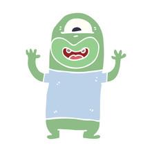 Cartoon Doodle Alien Monster