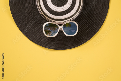 Fototapeta Summer vacation concept flat lay. Beach accessories top view. Space for text. travel obraz na płótnie