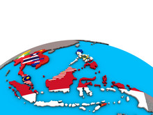 South East Asia With Embedded National Flags On Political 3D Globe.