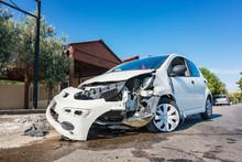 Close-up Of Crashed Car After ...
