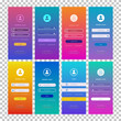 Vector login form page set isolated on transparent background for website ui elements, app development, smartphone mockups, online registration, user profile, access to account concept. 10 eps