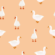 Seamless Farm Bird White Goose Pattern On Beige, Vector Eps 10