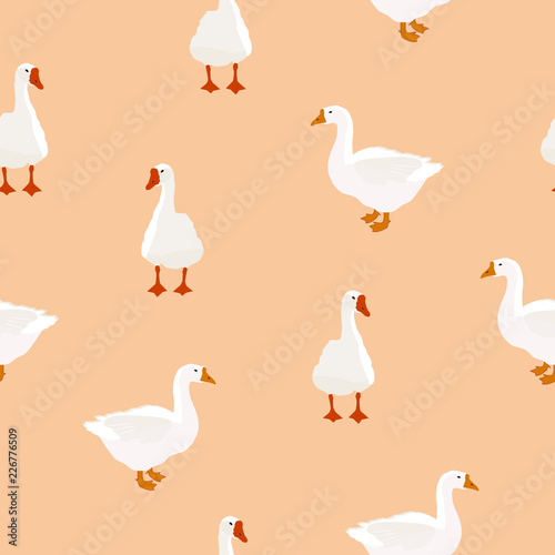 Tablou Canvas Seamless farm bird white goose pattern on beige, vector eps 10