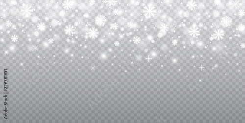 Stock vector illustration falling snow Poster Mural XXL