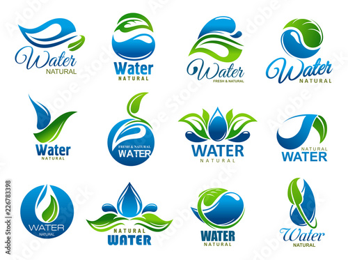 Obraz Natural and mineral water, vector icons - fototapety do salonu