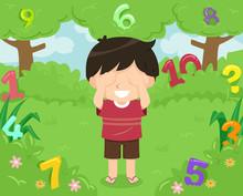 Kid Boy Hide Seek Numbers Illu...