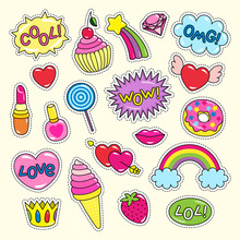 Bright Girlish Stickers In Pink And Red Colors Set