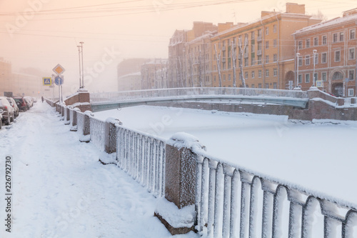 Deurstickers Asia land Griboyedov Canal view at winter day