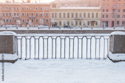 Deurstickers Asia land Griboyedov Canal forged fence in winter