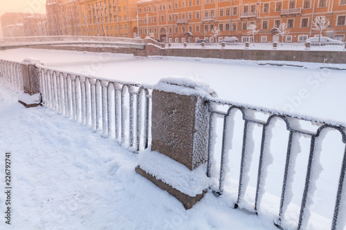 Deurstickers Asia land Griboyedov Canal coast at winter day