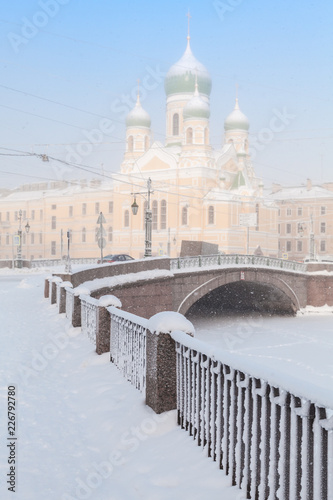 Deurstickers Asia land Griboyedov Canal embankment with Church