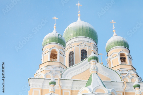 Deurstickers Asia land Domes of Saint Isidore Church in winter