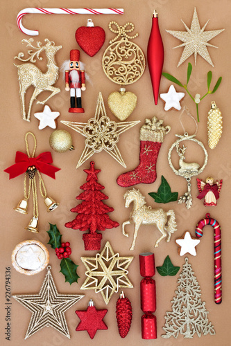Christmas Old Fashioned Retro Ornaments And Decorations With