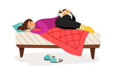 Depressed Woman And Cat. Sad W...