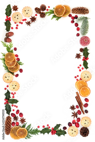 Christmas Card Border.Winter And Christmas Natural Flora And Food Background