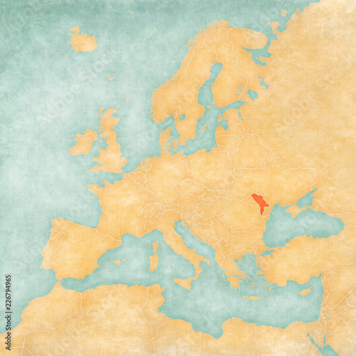 Map of Europe - Moldova Fototapet