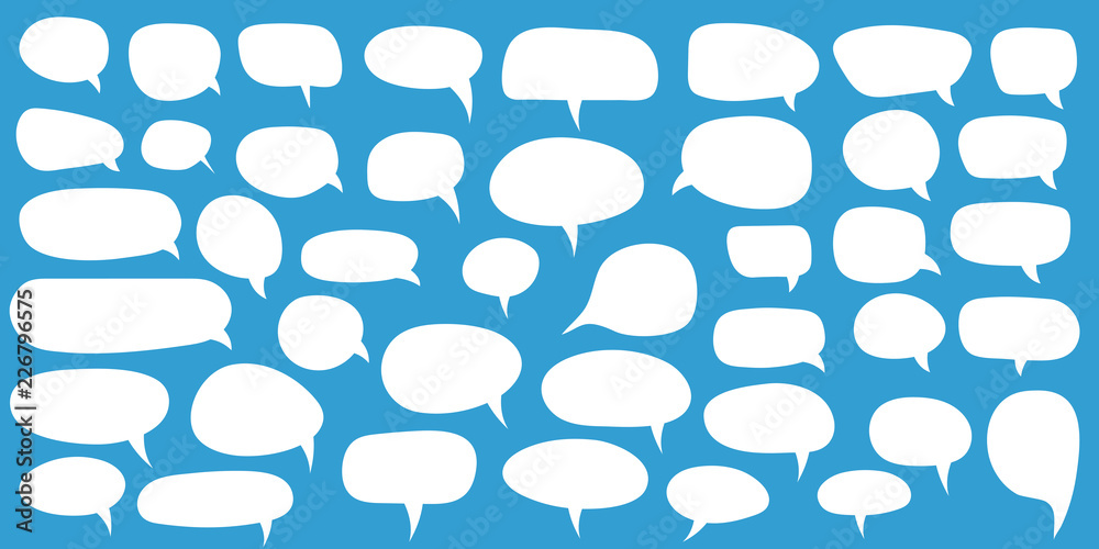 Fototapety, obrazy: Set of speech bubbles. Blank empty vector white speech bubbles. Cartoon balloon word design.